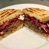 Coffee Chili Rubbed Brisket Sandwiches with Red Cabbage Slaw and  Tangy BBQ Sauce