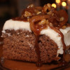 Spice Cake with Cream Cheese Frosting and Caramelized Apple Walnut Topping