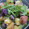 Roasted Potato Salad with Arugula and Garlic Lemon Vinaigrette
