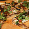 Roasted Acorn Squash Arugula Pizza with Pomegranate Balsamic Reduction
