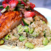 Chili Honey Glazed Salmon with Strawberry Jalapeño Salsa & Toasted Sesame Edamame Quinoa