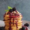 Whole Wheat Lemon Ricotta Pancakes with Blackberry Compote