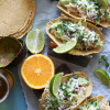 Crockpot Mojo Chicken Tacos with Jalapeño Avocado Crema