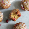 Whole Wheat Cranberry Orange Pistachio Muffins with Vanilla Bean Glaze