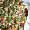 Balsamic Roasted Vegetable Quinoa Salad with Feta and Arugula