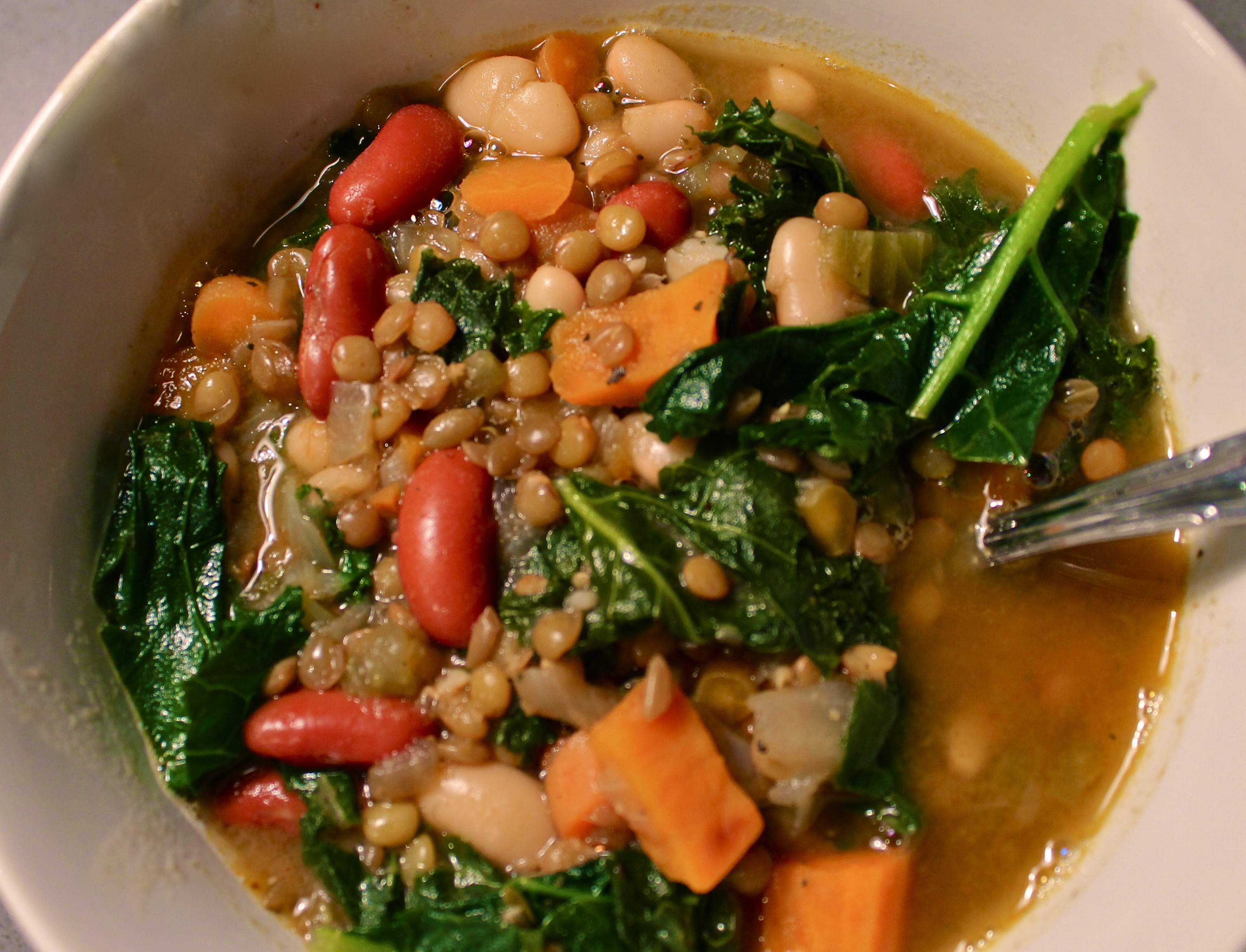 Kale and Green Lentil Soup with Spicy Roasted Sweet Potatoes