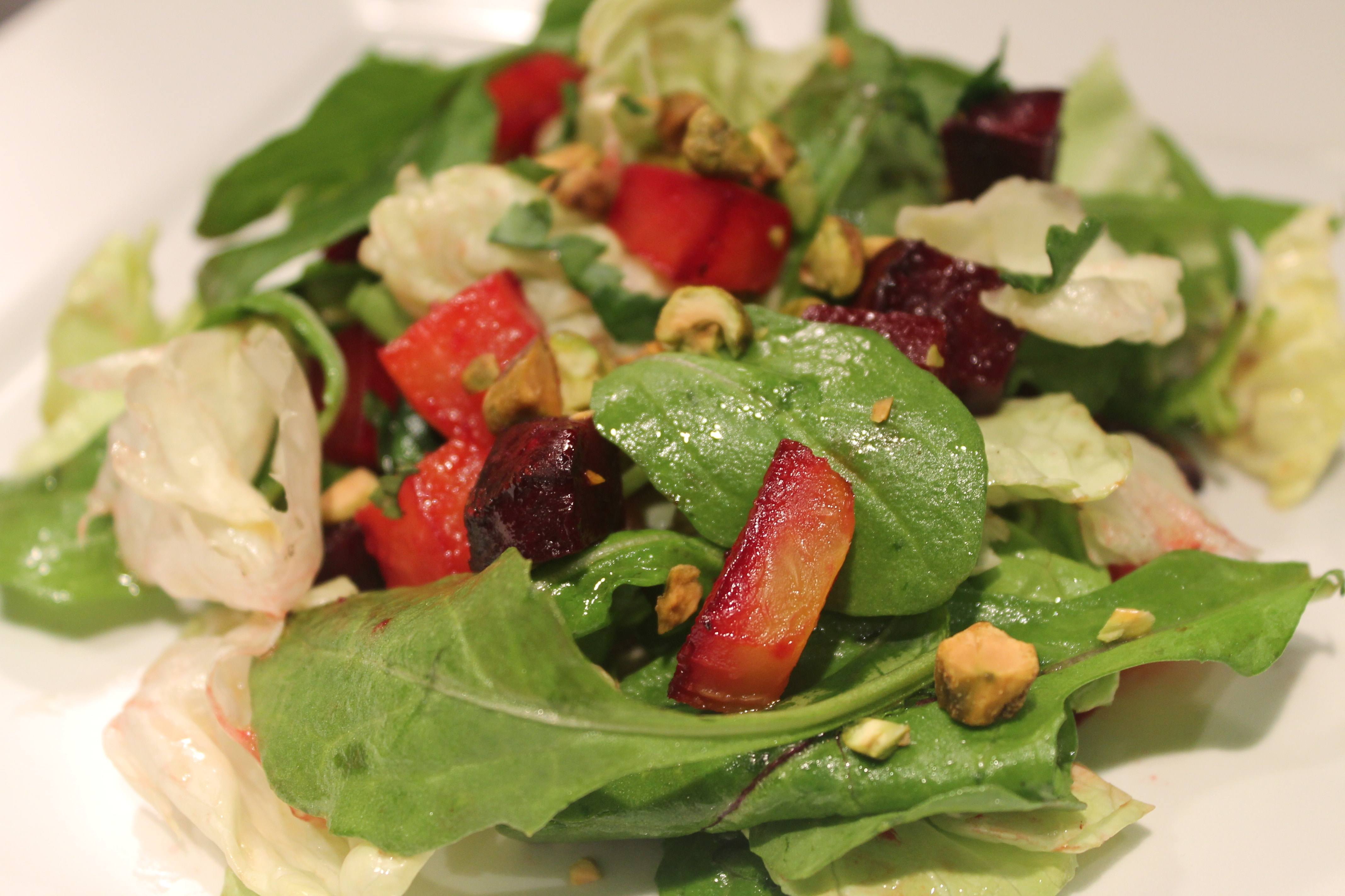 Lemony Roasted Beet Salad with Arugula and Butter Lettuce