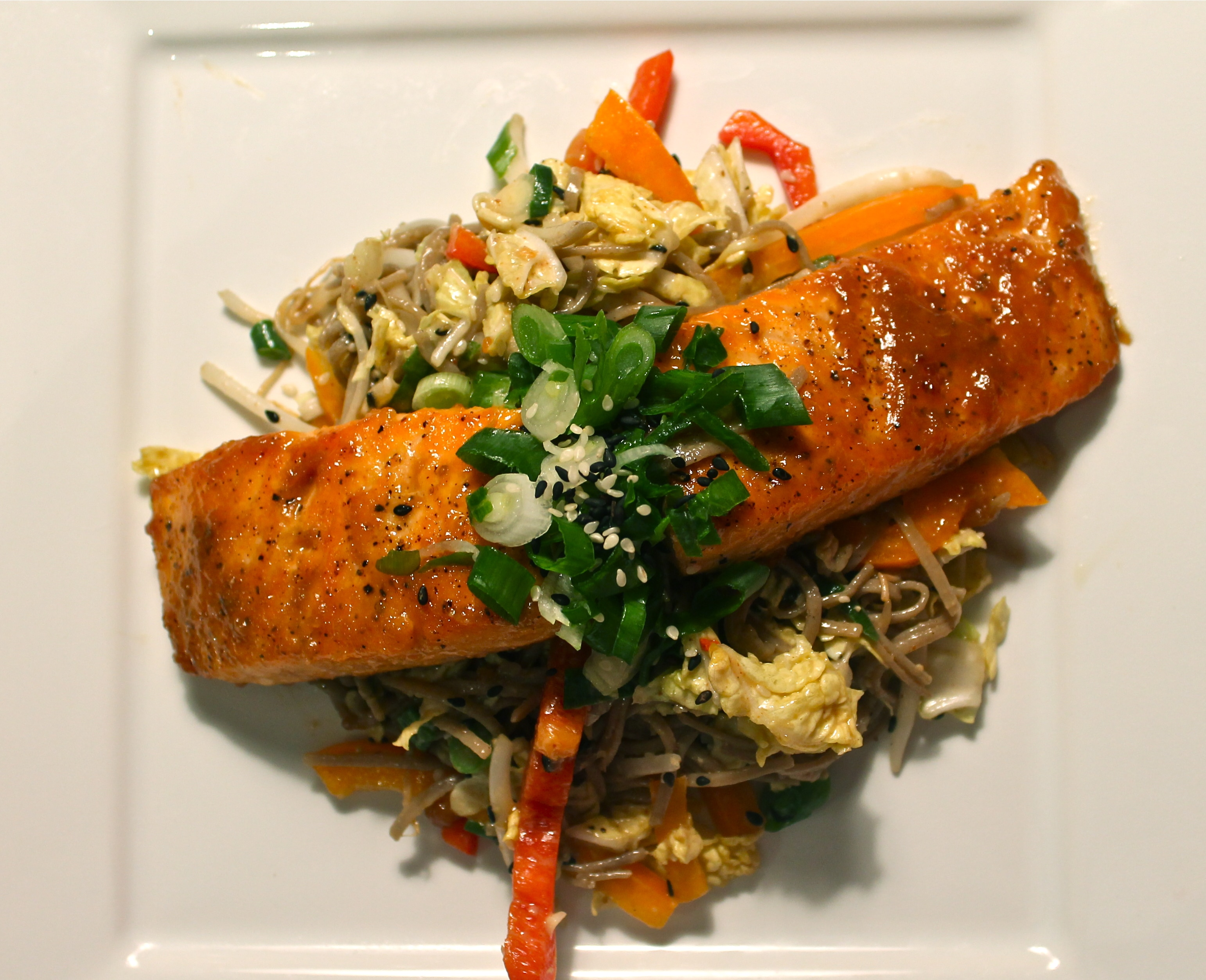 Ginger Miso Glazed Salmon with Cold Soba Noodle Salad