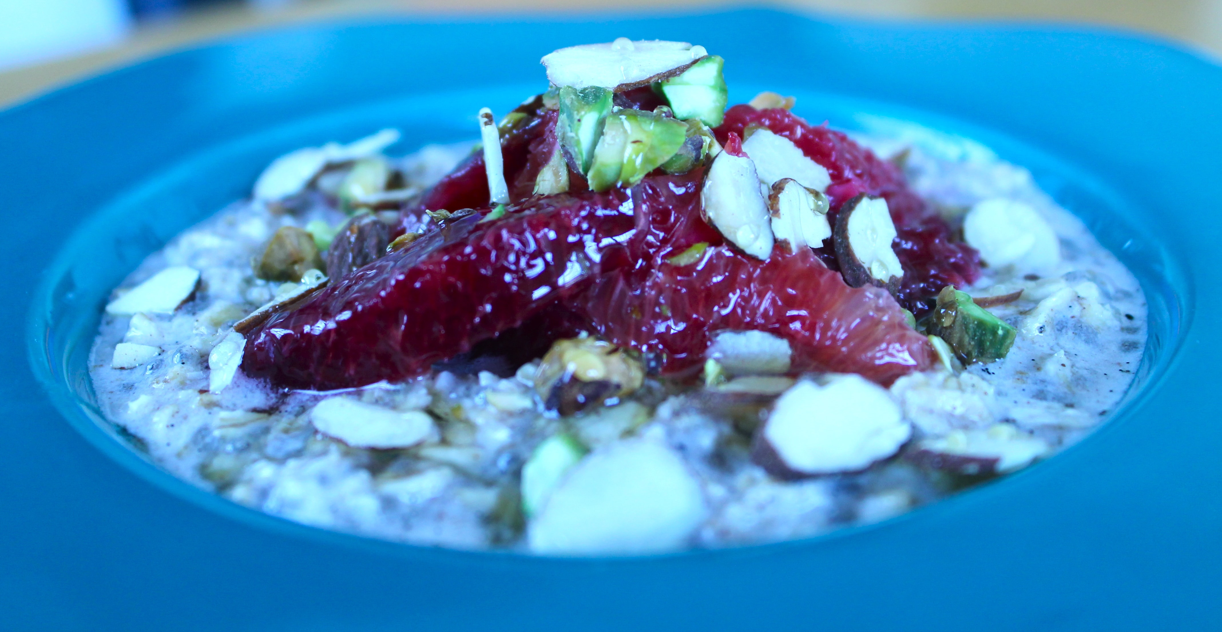 Vanilla Bean Chia Overnight Oats with Blood Oranges, Toasted Almonds and Pistachios