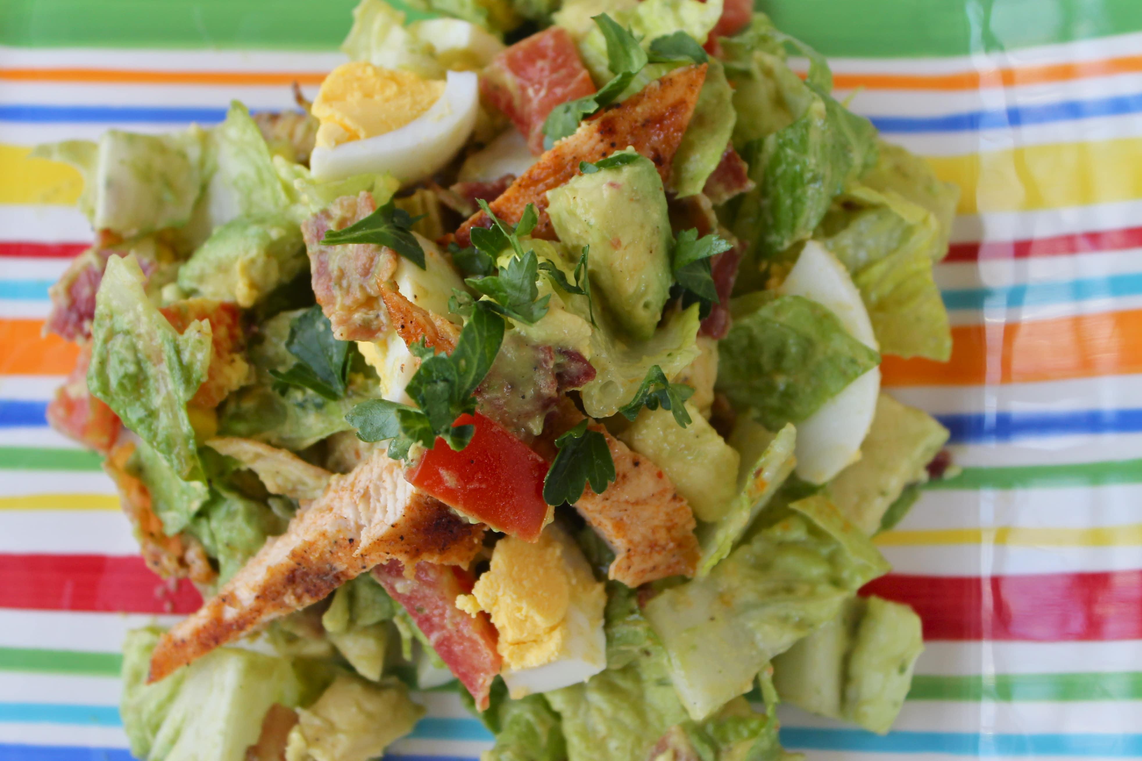 Lemony Smoked Paprika Chicken Chopped Salad with Creamy Avocado Dressing