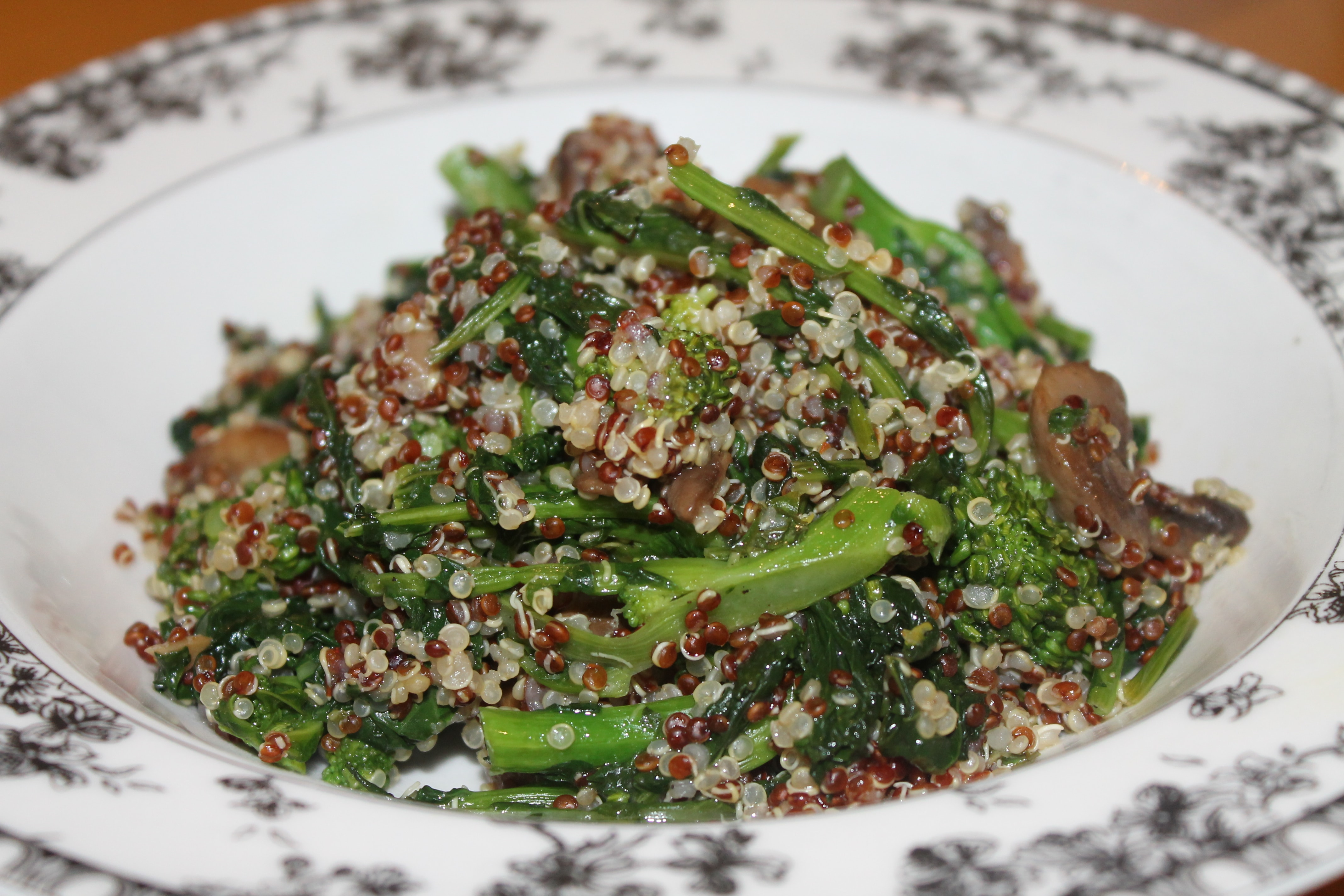 Red and White Quinoa Salad with Broccoli Rabe, Mushrooms, and a Basil Lemon Vinaigrette