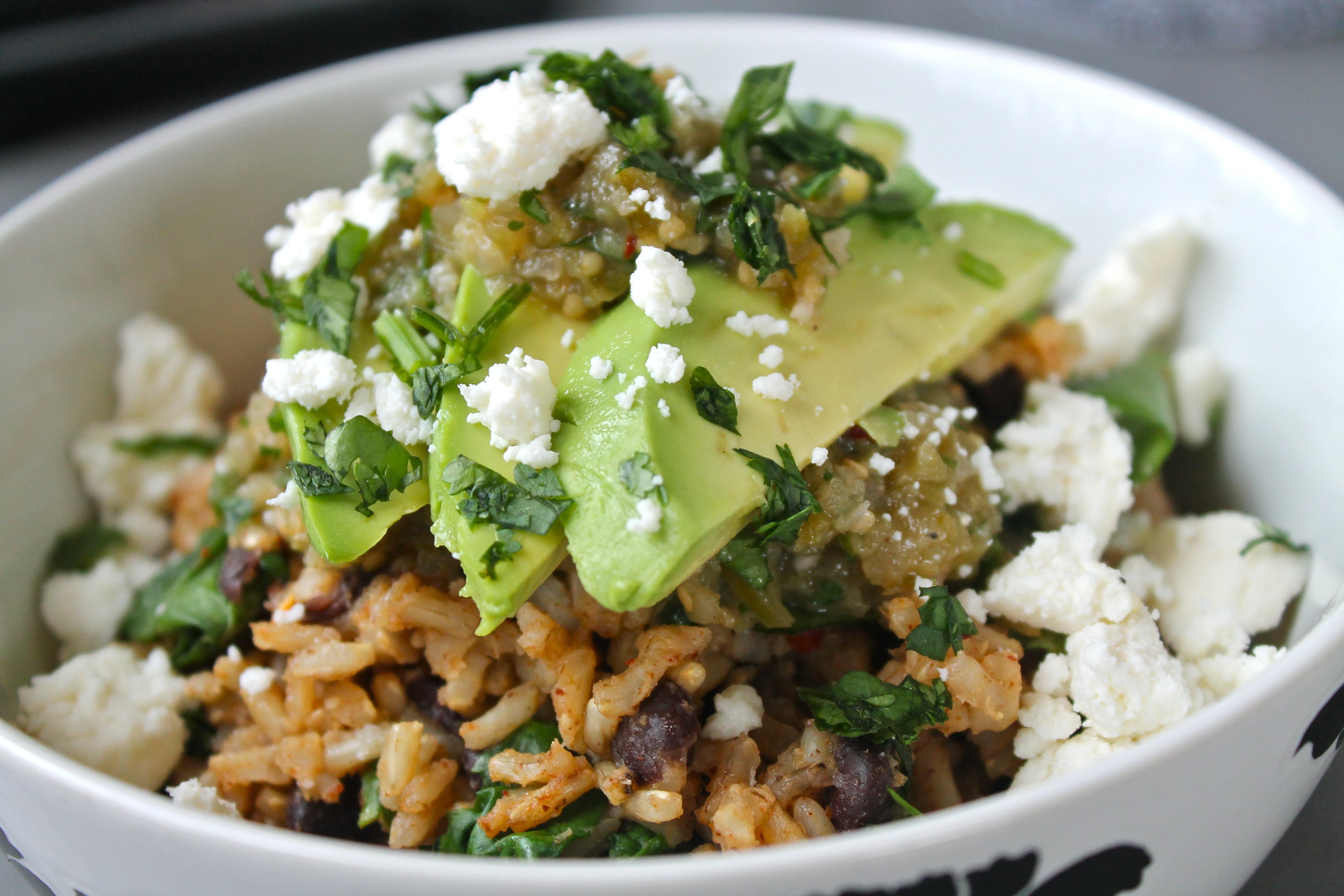 Brown Rice Black Bean Bowls with Tomatillo Salsa, Avocado, and Queso Fresco