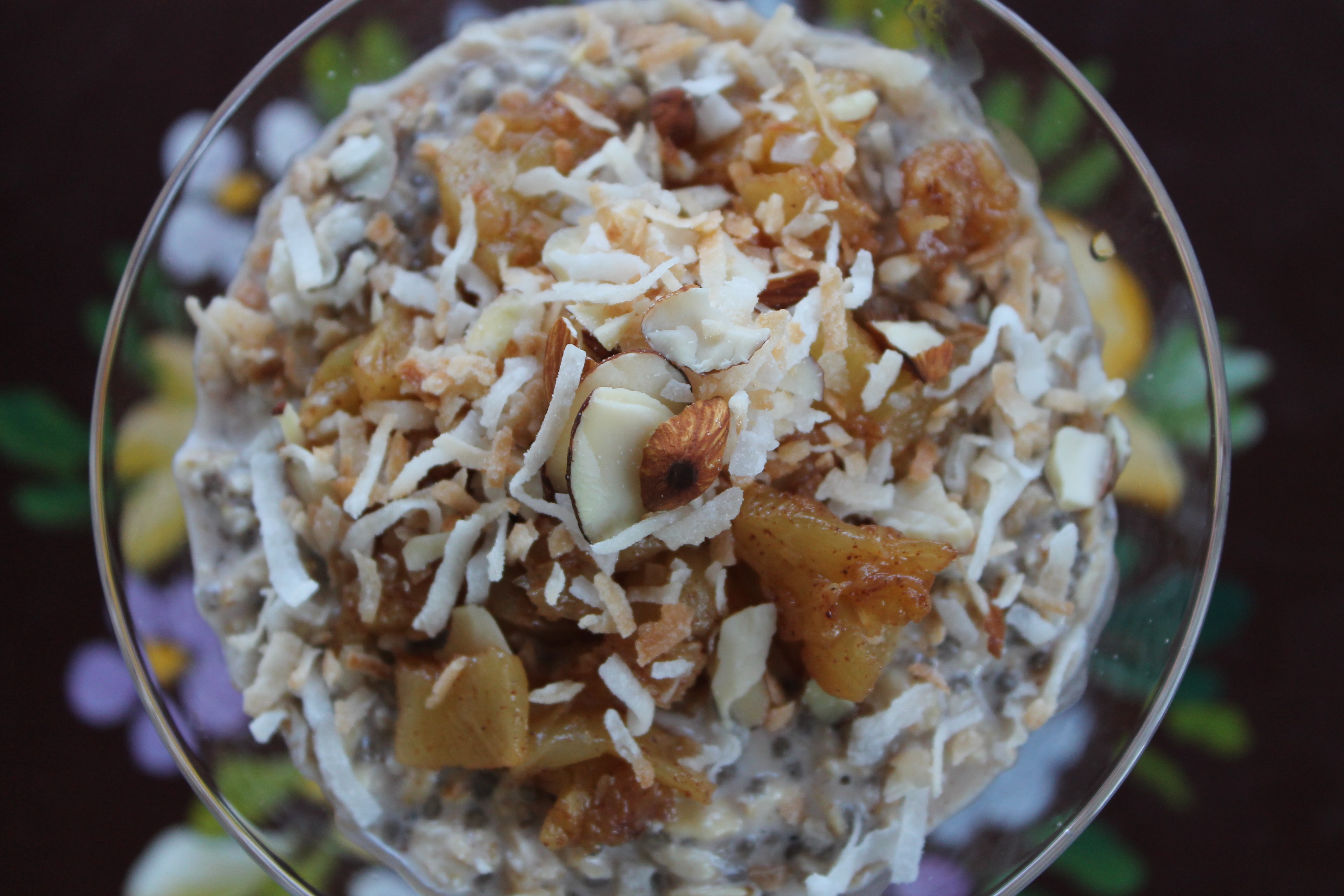Overnight Oats with Coconut Milk, Cinnamon-Ginger Pineapple, and Toasted Coconut Almond Topping