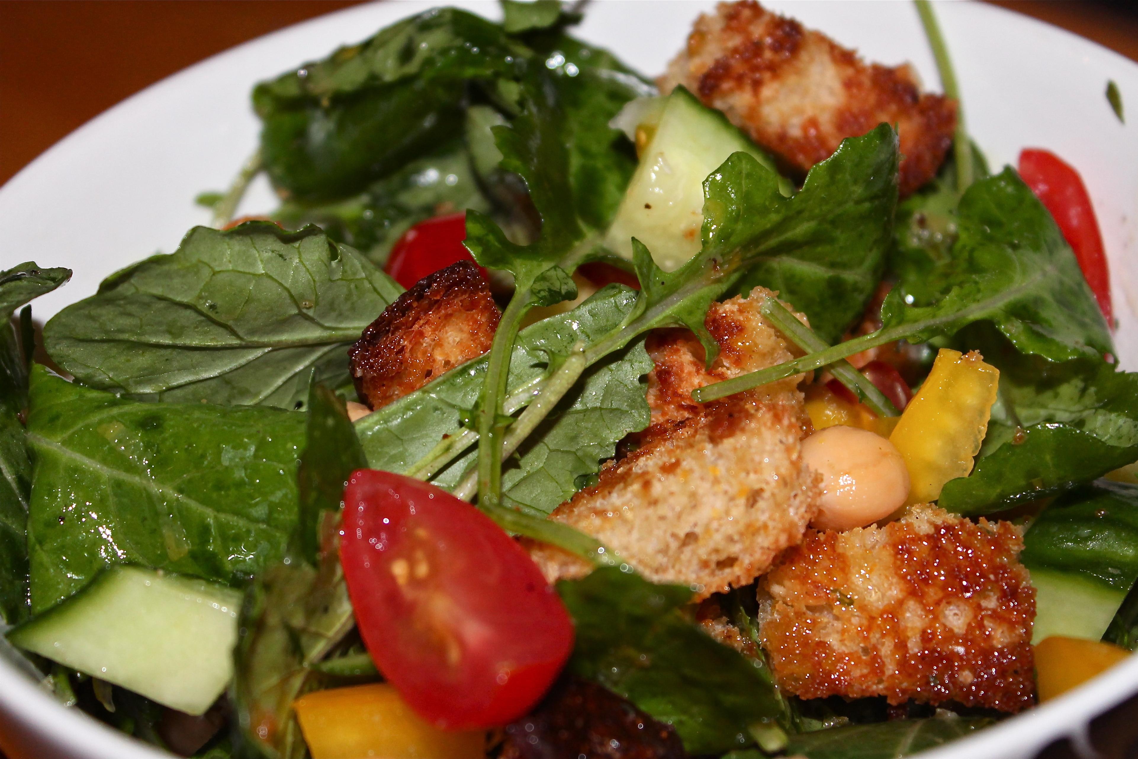 Panzanella Salad with Baby Kale, Chickpeas, and Lemon Herb Vinaigrette