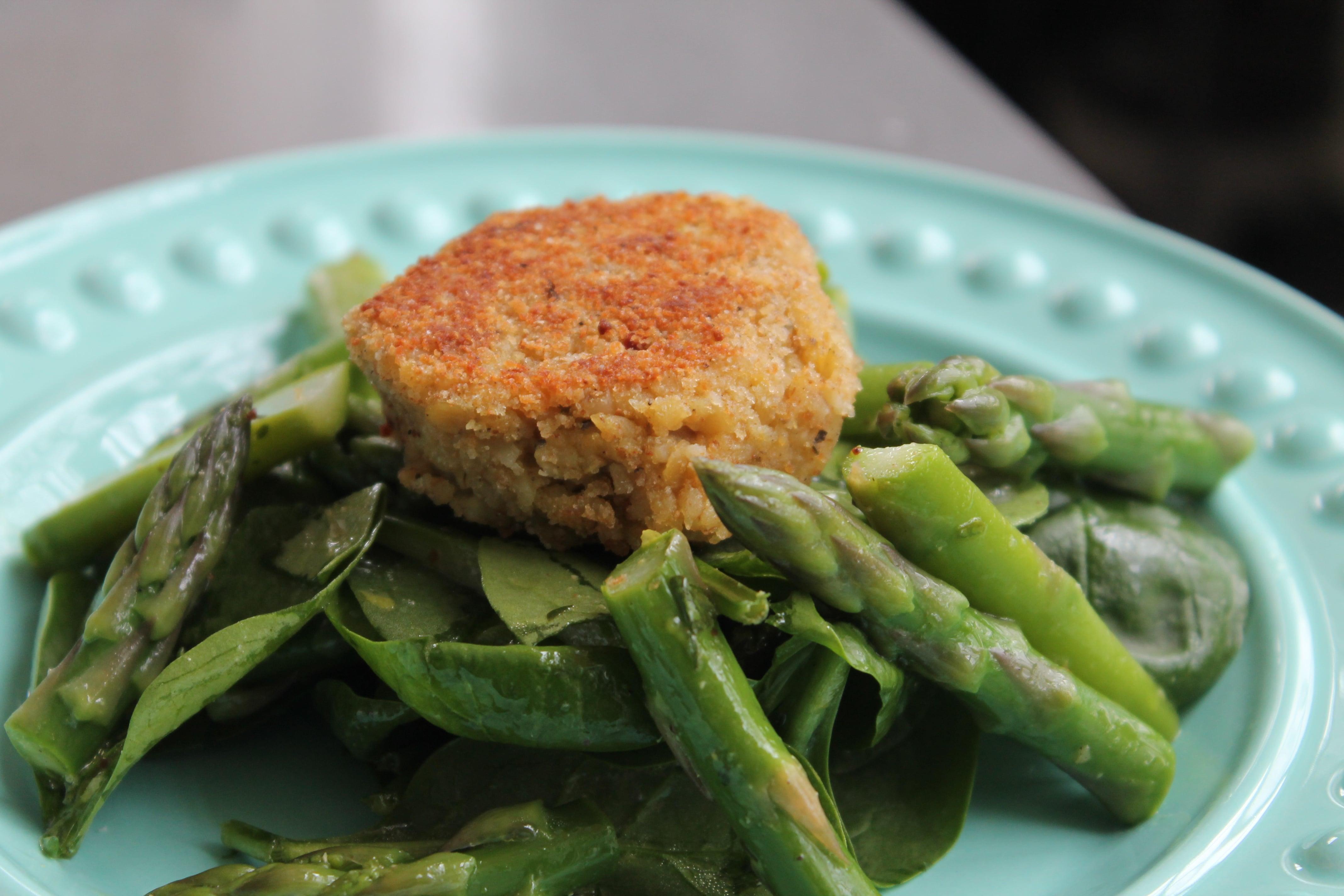 Spinach Asparagus Salad with Lentil Bulgur Cakes and Lemon Parsley Vinaigrette