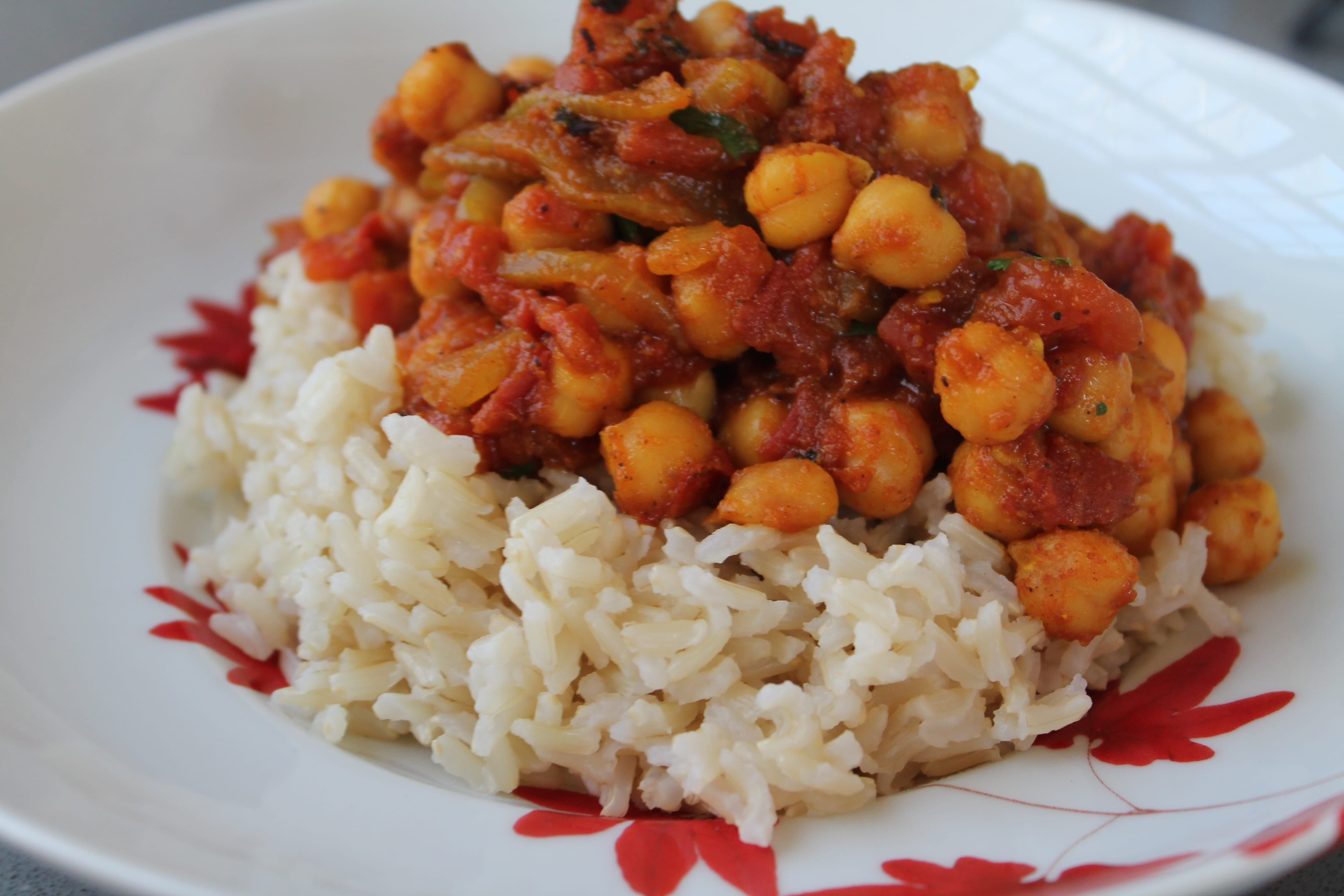 Fire Roasted Tomato Chana Masala with Brown Jasmine Rice