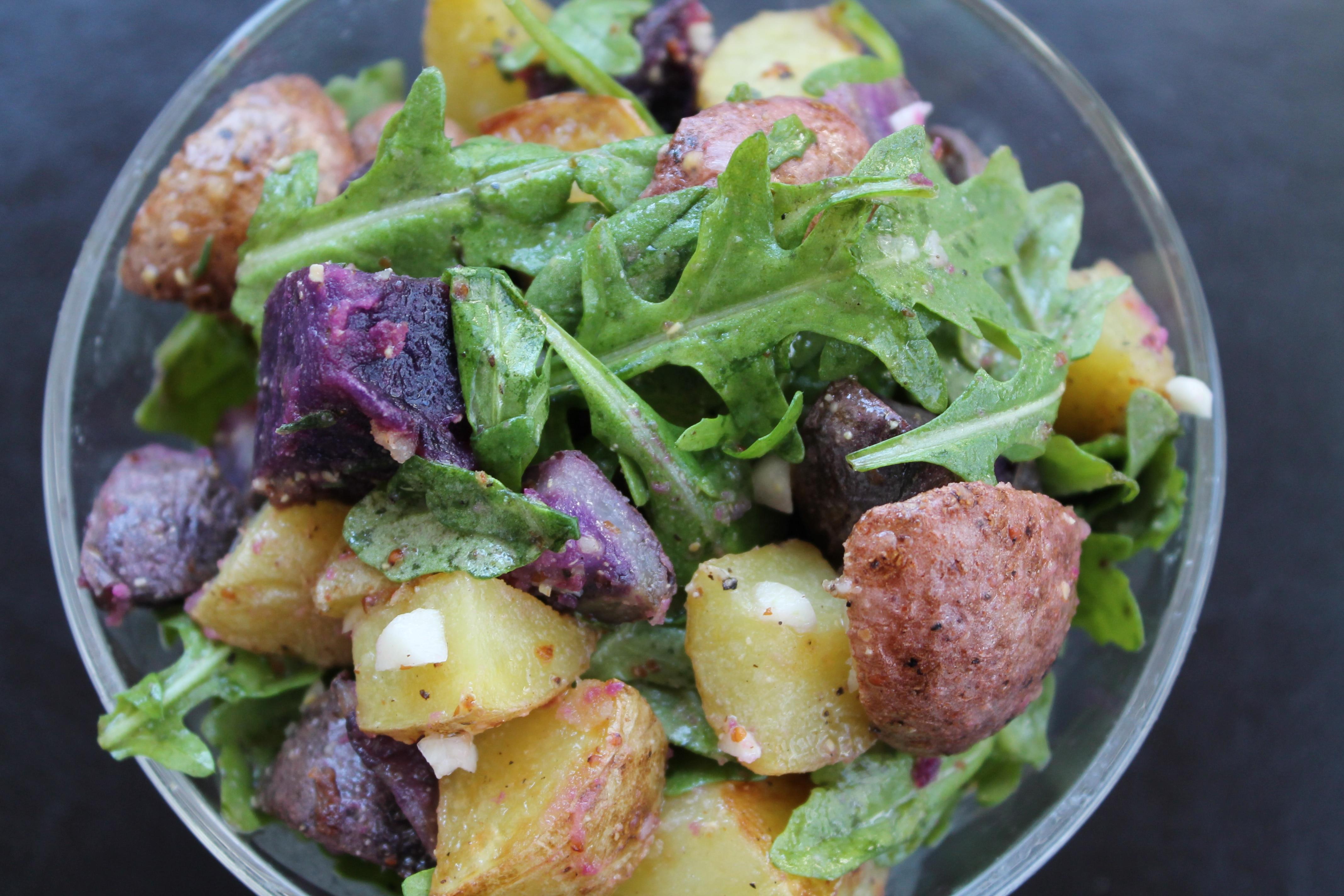 Roasted Potato Salad with Arugula and Garlic Lemon Vinaigrette