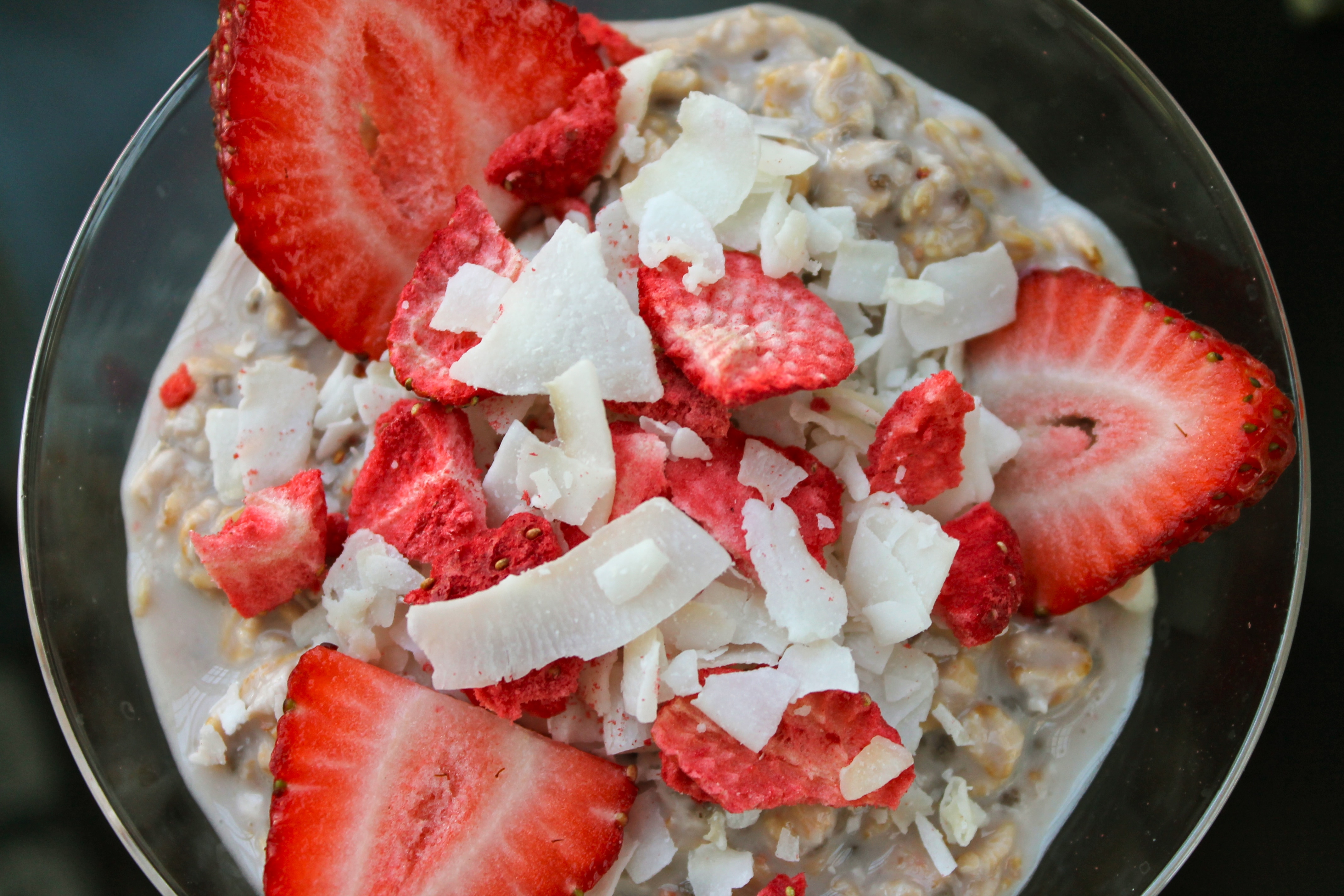 """Strawberries and Cream"" Overnight Oats with Coconut"