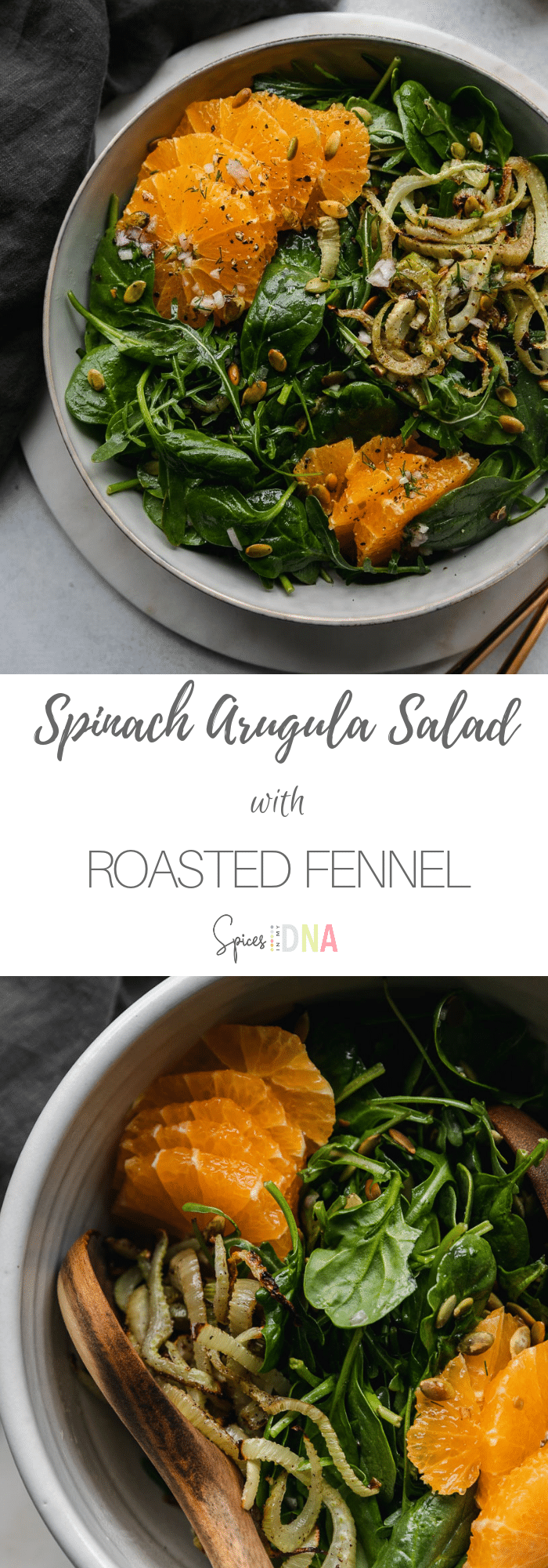 This Spinach Arugula Salad with Roasted Fennel, Tangelos, Pumpkin Seeds, and a Citrus Vinaigrette is the ultimate winter salad. It's filled with the best winter citrus flavors, caramelized roasted fennel, toasted pumpkin seeds, and the most delicious citrus vinaigrette. I crave this combination daily in the winter, and sometimes I add grilled chicken or salmon to make it a heartier meal! #salad #wintercitrus #healthyrecipe #tangelo