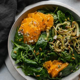 Spinach Arugula Salad with Roasted Fennel, Tangelos, Pumpkin Seeds and a Citrus Vinaigrette