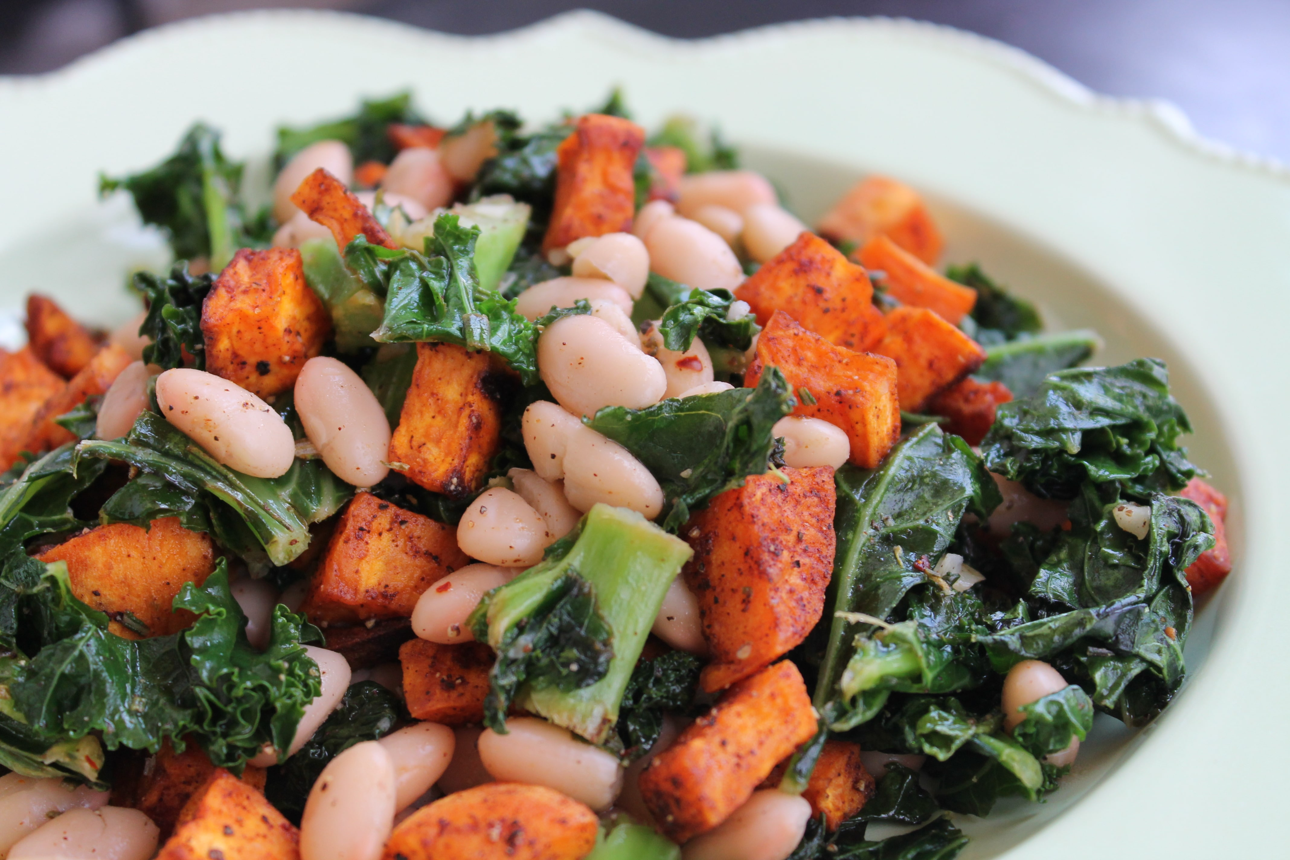 Warm Kale and White Bean Salad with Roasted Sweet Potatoes