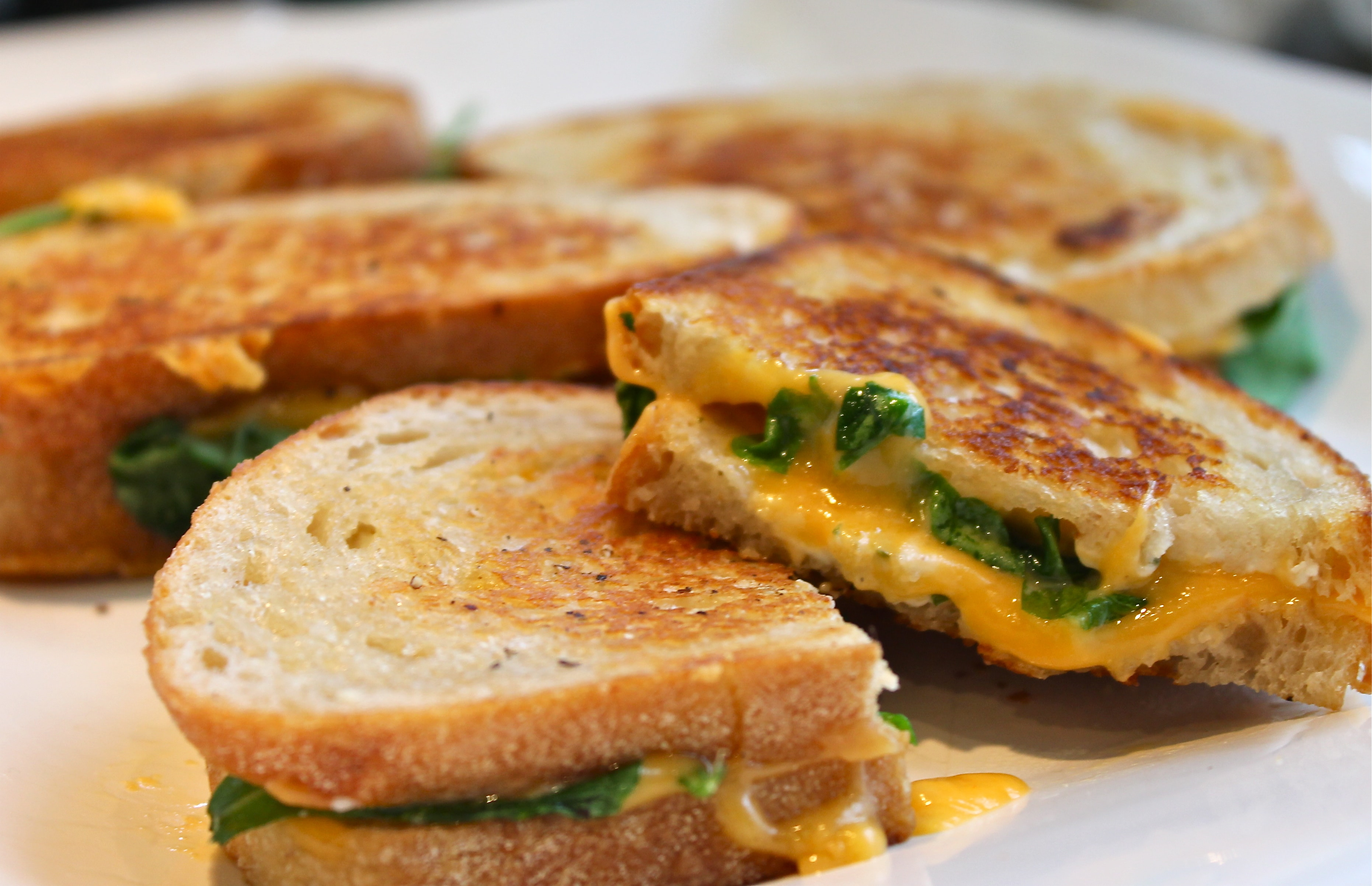 Sharp Cheddar Boursin and Arugula Grilled Cheese Sandwiches