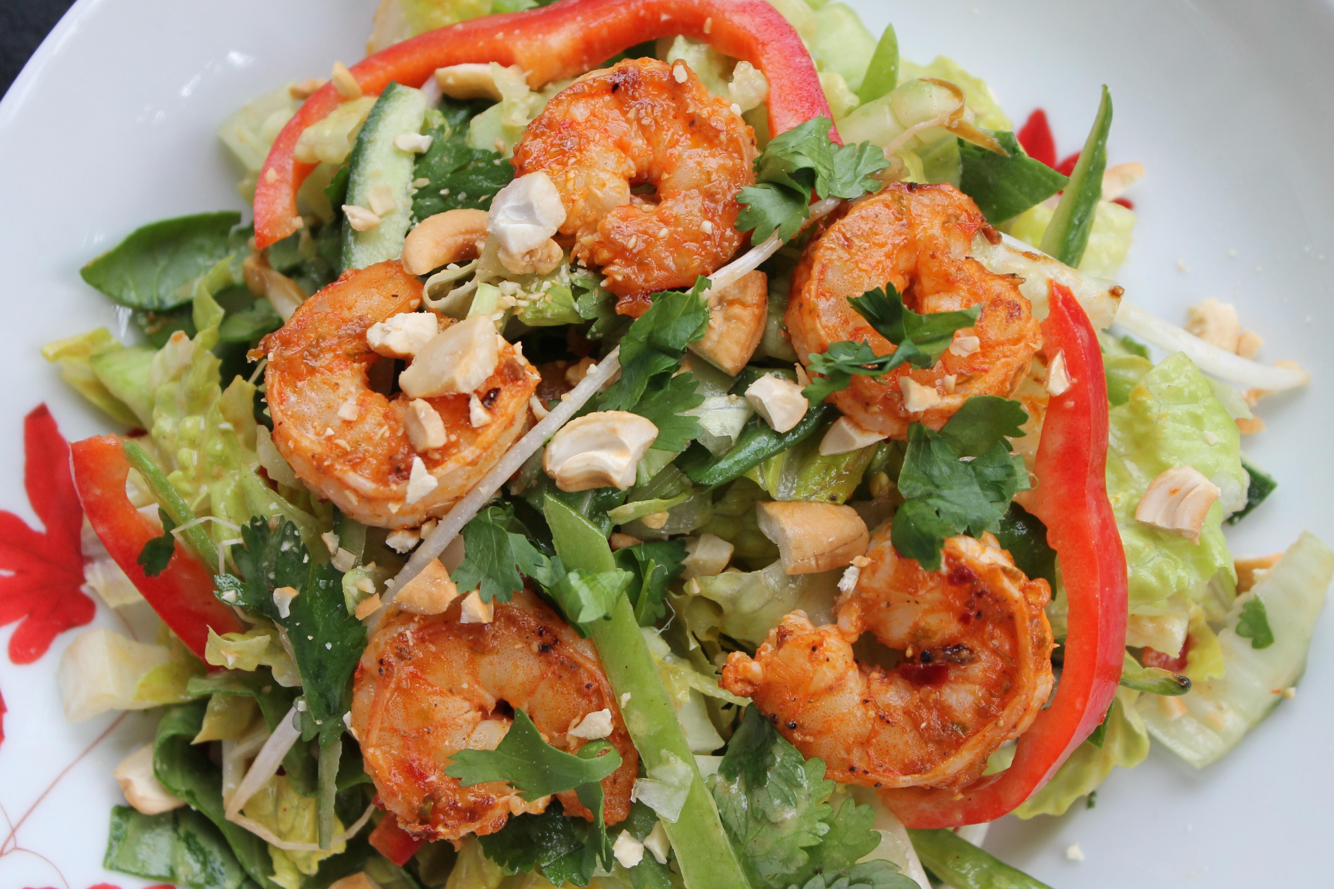 Thai Shrimp Salad with Sesame Peanut Dressing