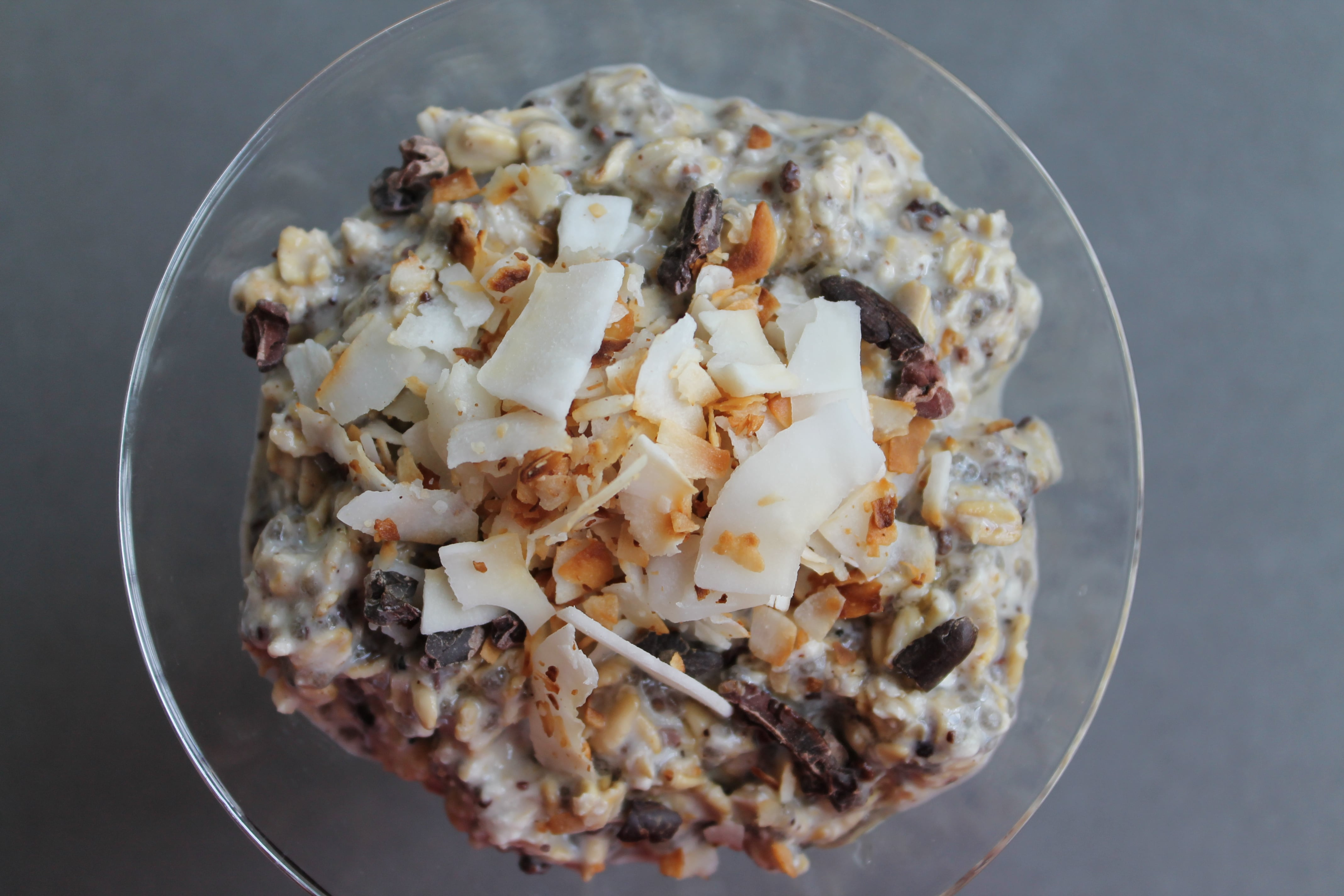 """Macaroon"" Overnight Oats with Toasted Coconut and Cacao Nibs"