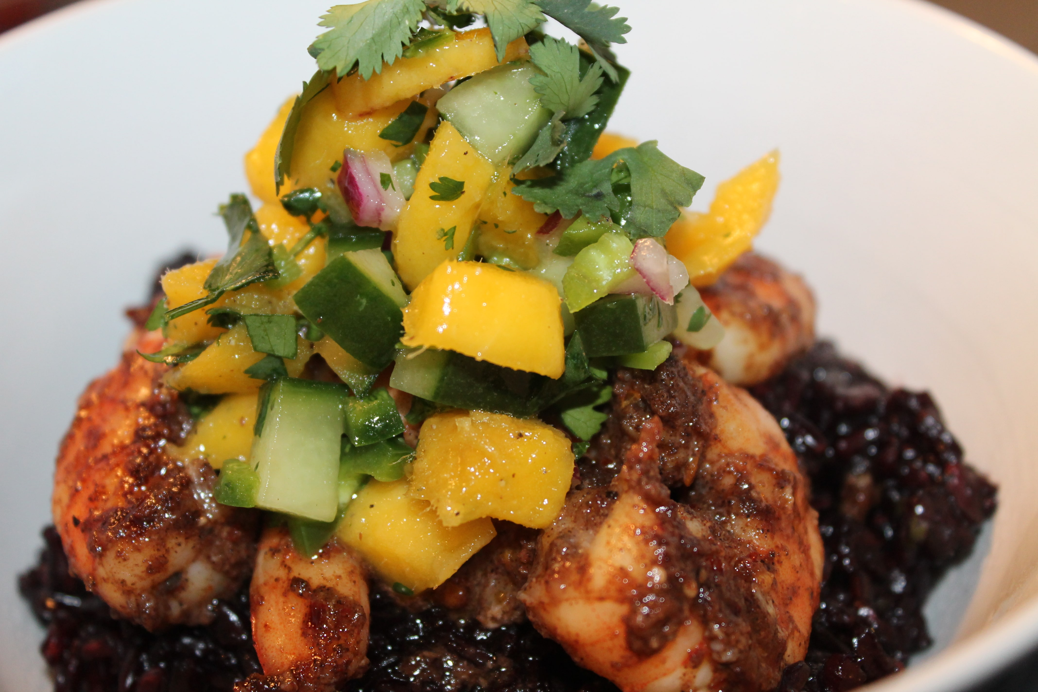 Jerk Shrimp Bowls with Black Rice and Mango Cucumber Salsa