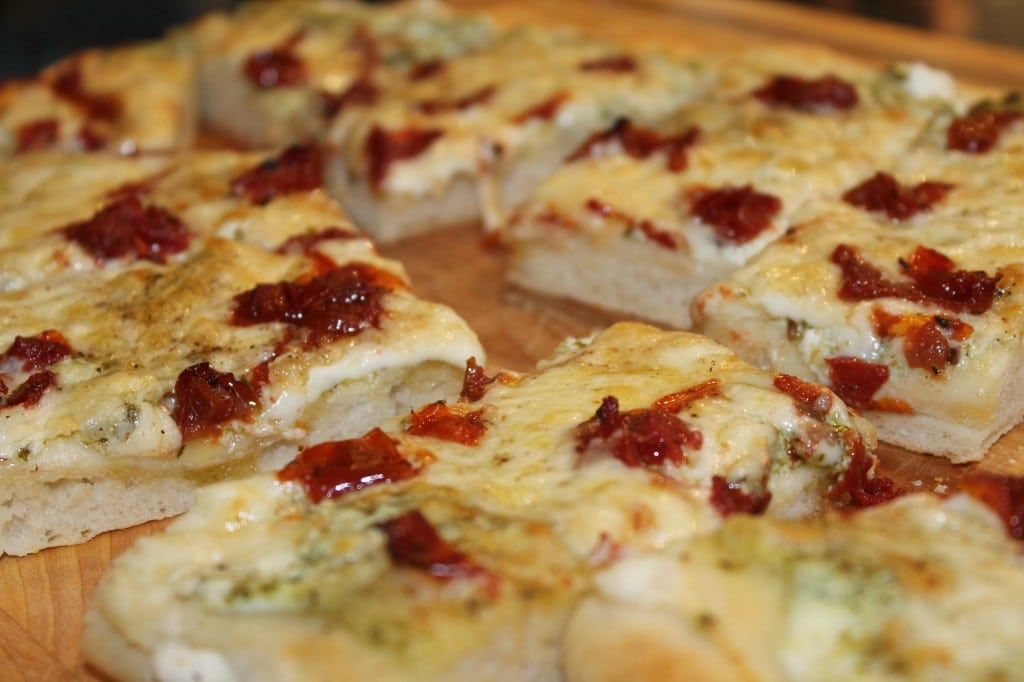 Three Cheese White Pizza with Pesto and Roasted Tomatoes ...