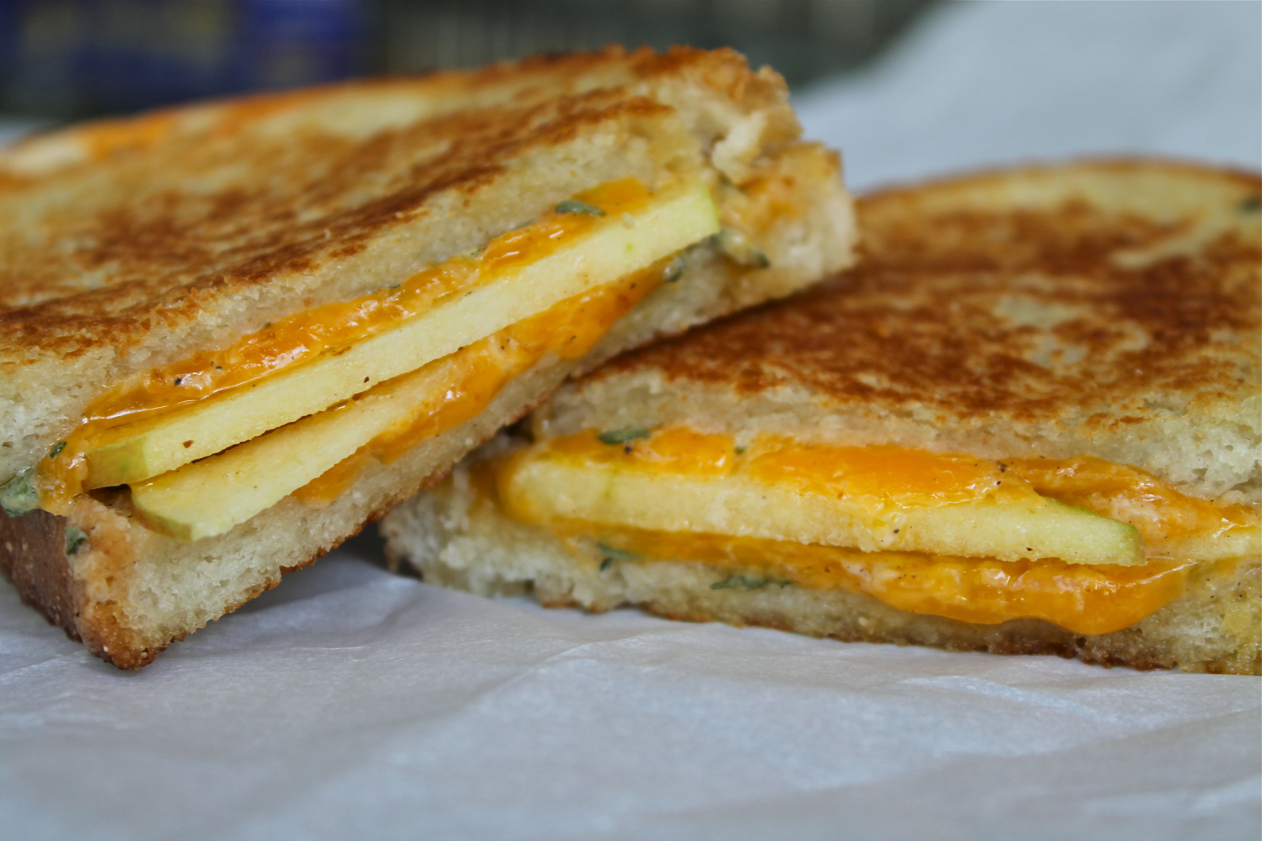 Apple Cheddar Grilled Cheese with Honey Sage Mascarpone Spread