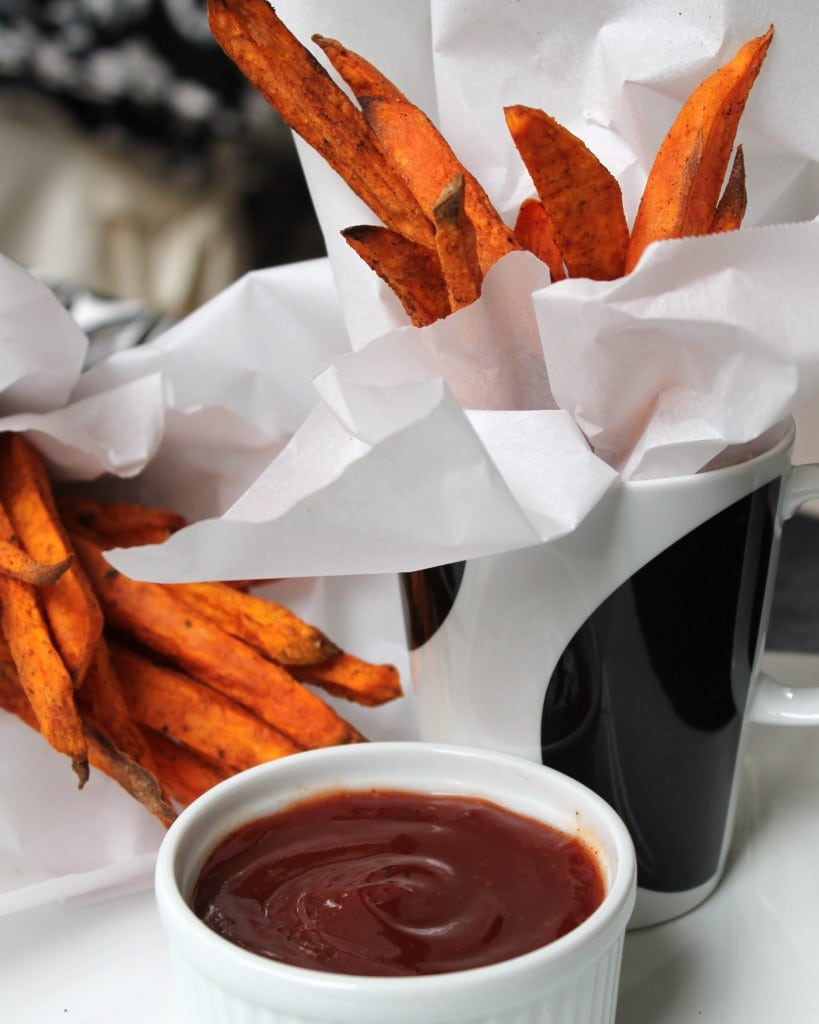Spiced Sweet Potato Fries with Maple Ketchup - Spices in My DNA