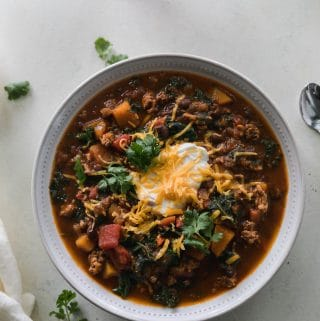 Pumpkin Beer Chicken Chili with Butternut Squash and Kale