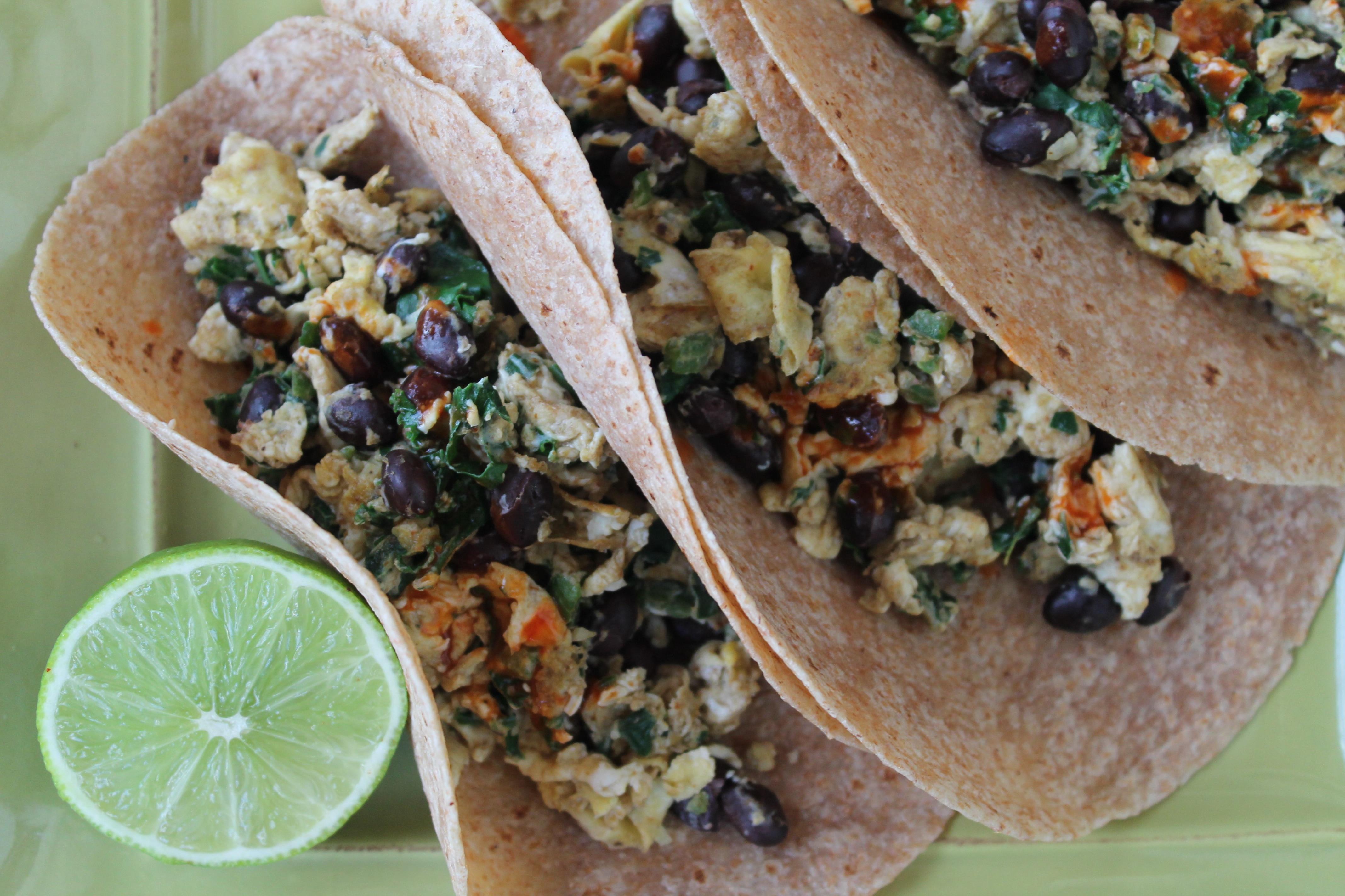 Kale Black Bean Jalapeño and Egg Breakfast Tacos
