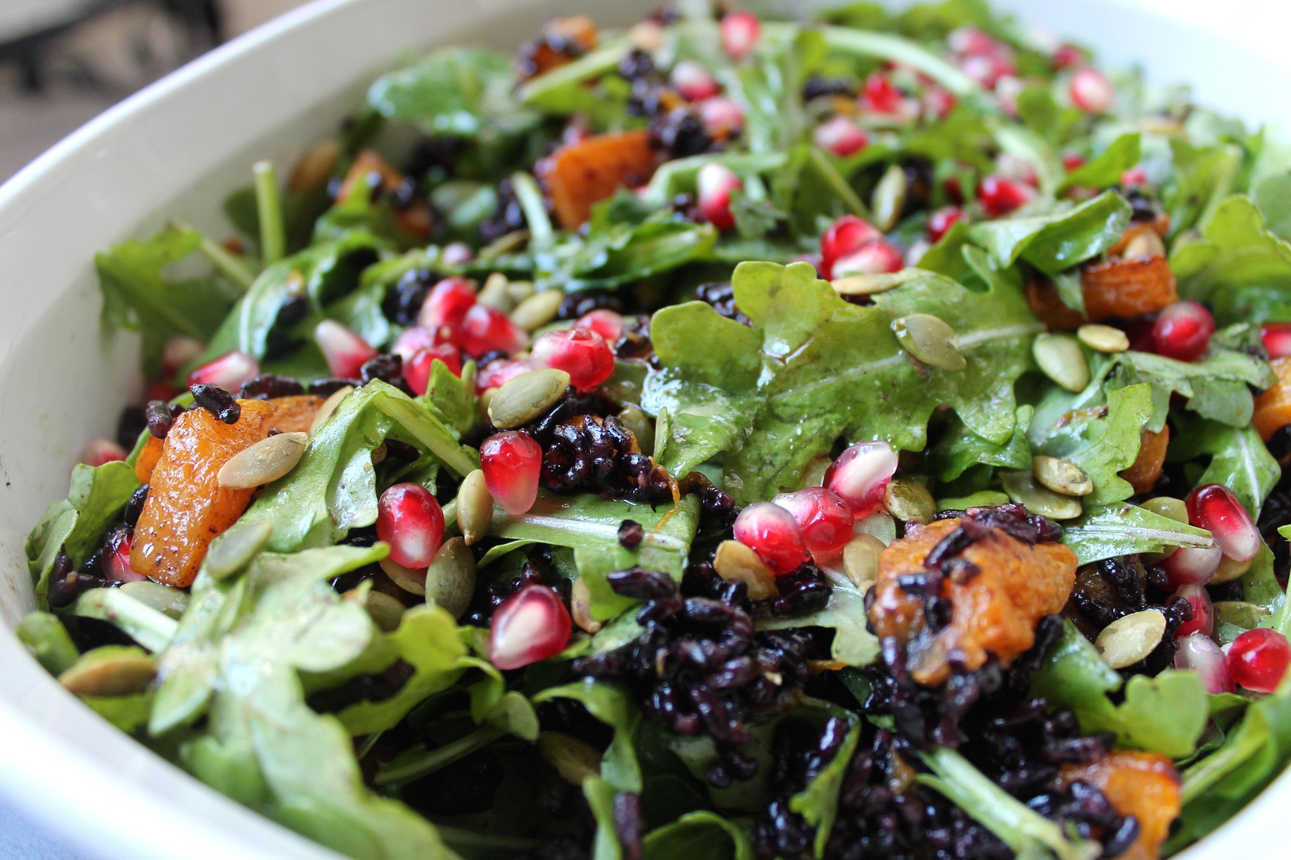 Black Rice Butternut Arugula Salad with Pomegranate ...