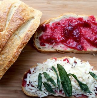 Turkey Panini with Cranberry White Cheddar and Crispy Sage