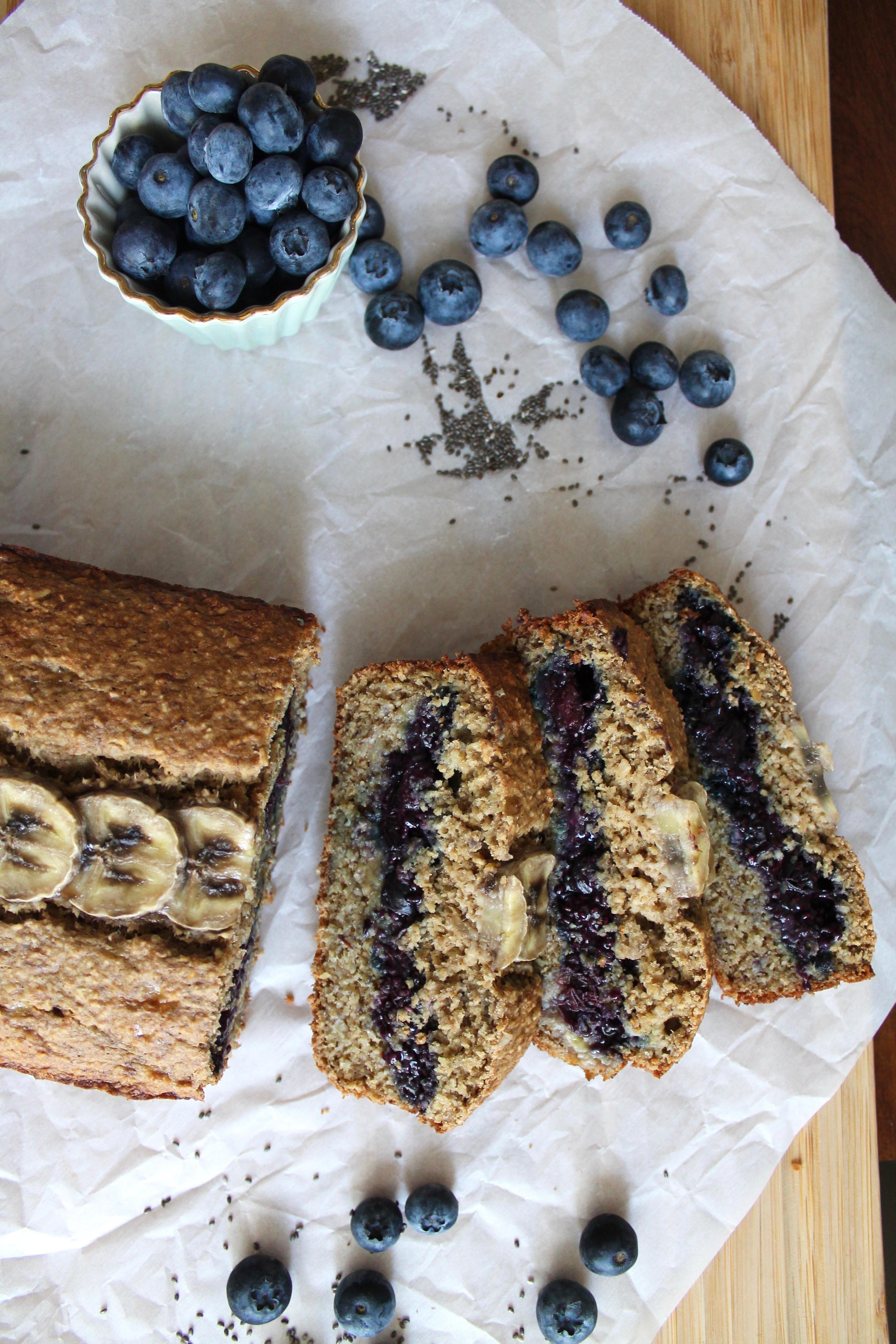 Blueberry Chia Jam Stuffed Oatmeal Banana Bread (gf)