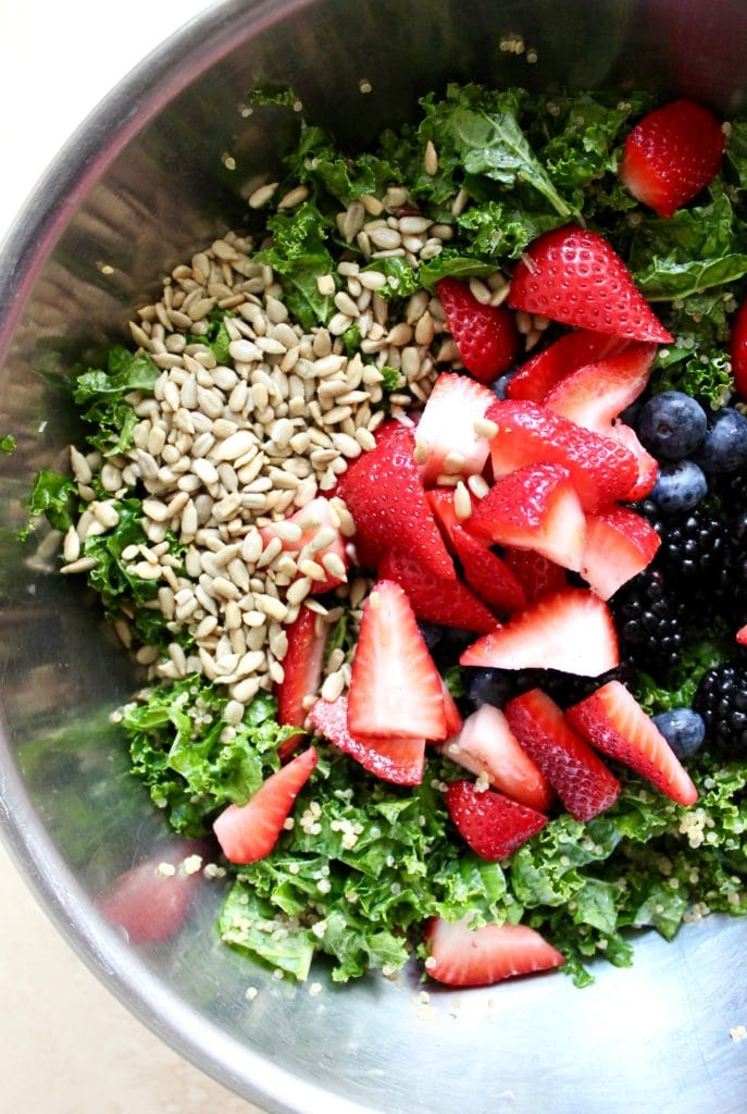 Berry Kale Salad with Blueberry Basil Vinaigrette - Spices in My DNA