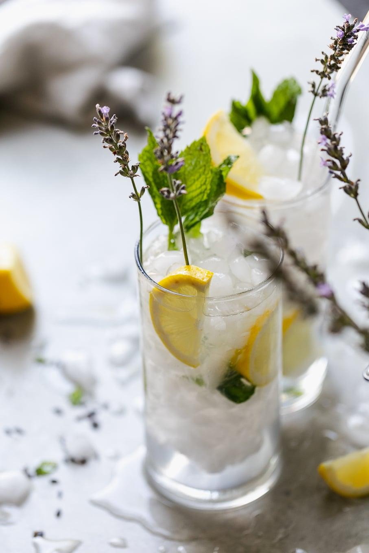 Close up shot of a lavender mint vodka lemonade