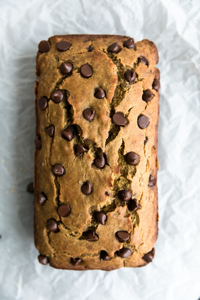Overhead shot of a loaf of chocolate chip banana bread