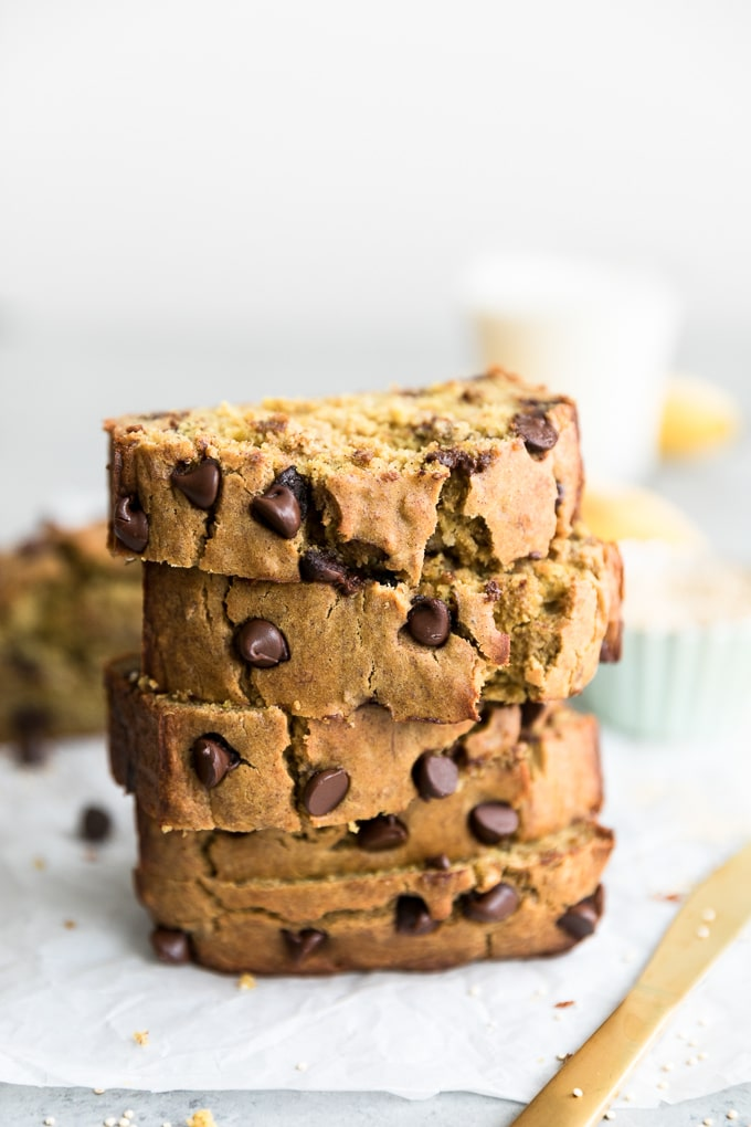 Shot of a stack of 5 slices of chocolate chip banana bread