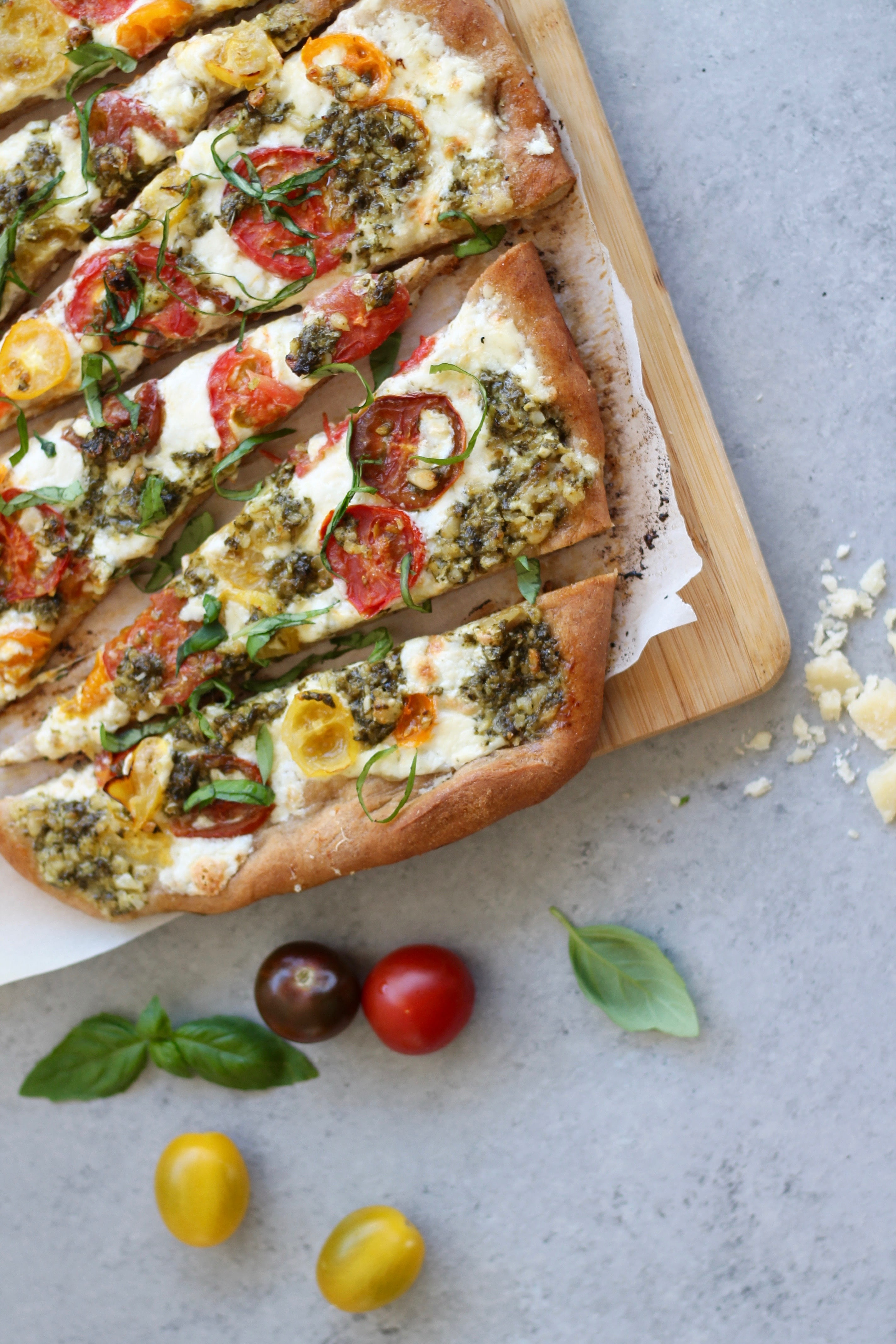 Baby Heirloom Tomato Burrata Pizza with Basil Pesto
