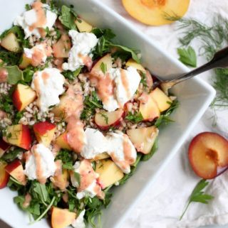 Peach and Plum Burrata Salad with Farro and Herbs