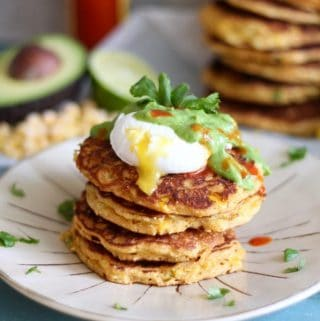 Jalapeño Corn Cakes with Poached Eggs and Avocado Cilantro Sauce