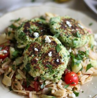 Feta Zucchini Cakes with Greek Orzo Salad