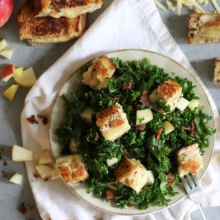 Apple Bacon Kale Salad with Brie Cheddar Grilled Cheese Croutons