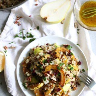 Delicata Squash, Pear, Pecan, and Cranberry Quinoa Salad