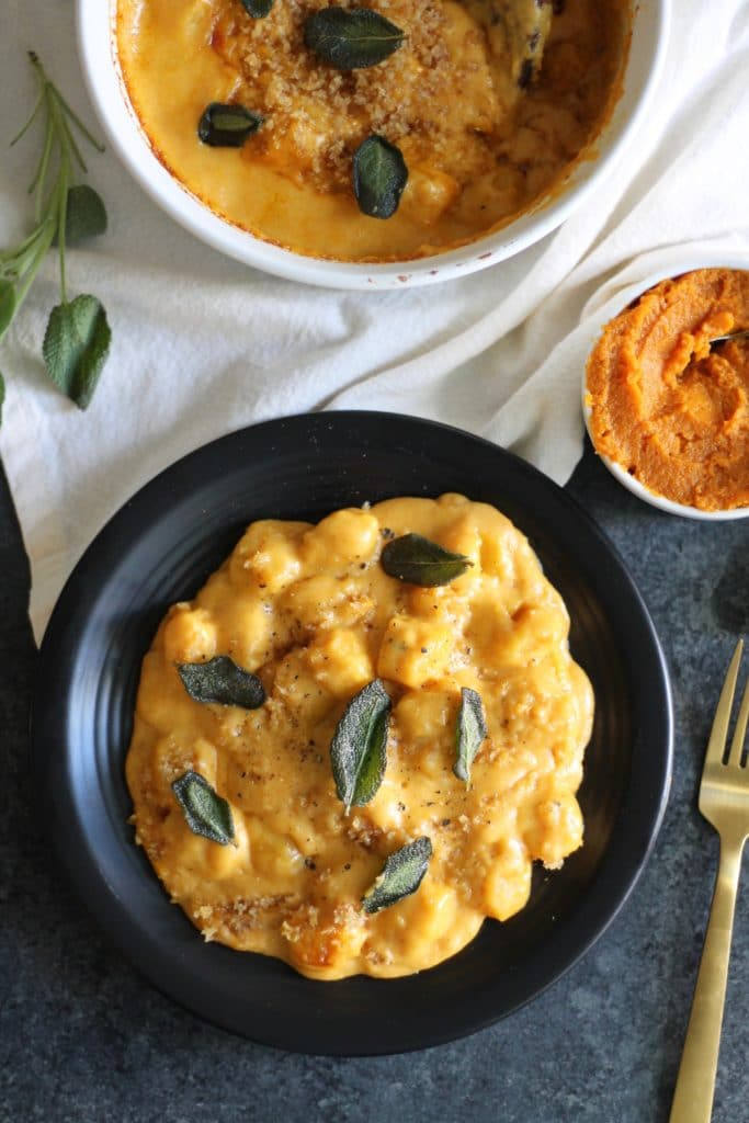 Pumpkin Gnocchi Mac and Cheese with Crispy Sage