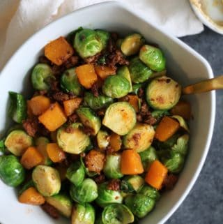 Brussels Sprouts with Butternut Squash, Chorizo, and Cinnamon Honey Butter