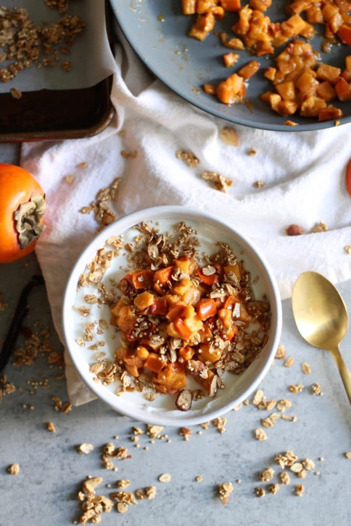 Sautéed Vanilla Bean Persimmon Yogurt Bowls with Quinoa Granola